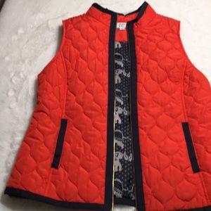 Crown & Ivy Orange Vest with elephants size Medium